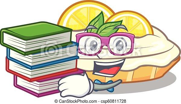 citron, étudiant, sucre, délicieux, livre, fait maison, gâteau, mascotte - csp60811728
