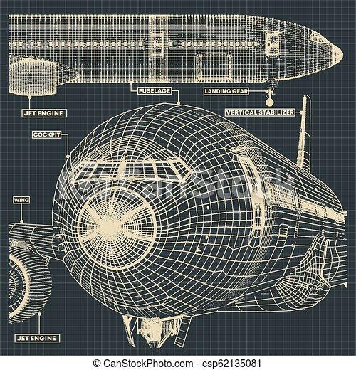 civil, avion, dessins - csp62135081