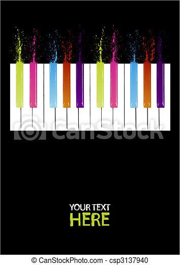 clés, piano, spectre - csp3137940