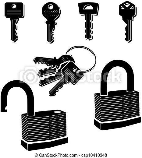 clés, serrures, vecteur - csp10410348