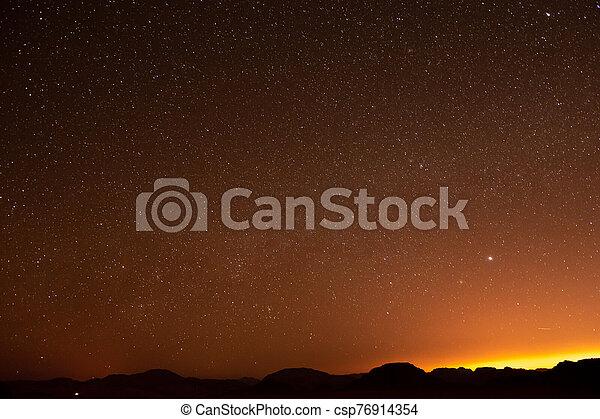 clair, rhum, nuit désertique, jordanie, étoile, oued - csp76914354