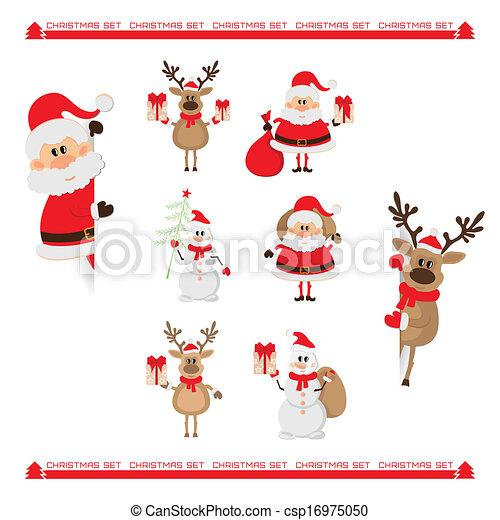 claus, bonhomme de neige, renne, santa - csp16975050