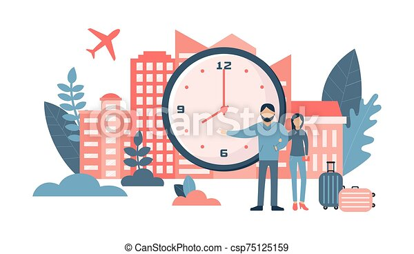clock., ensemble, voyage, concept., grand, personnes, heureux, classique, couple - csp75125159