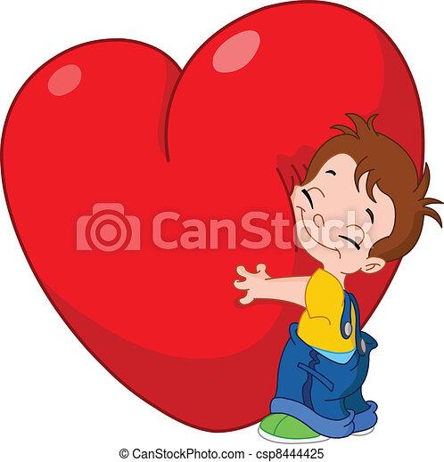 coeur, étreinte, gosse - csp8444425
