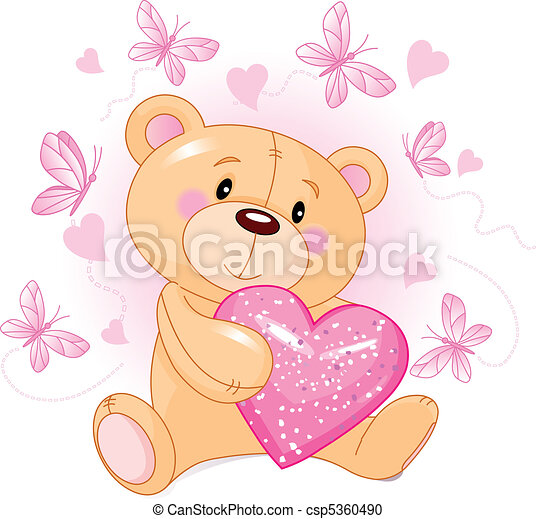 coeur, amour, ours, teddy - csp5360490