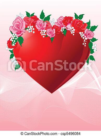 coeur, amour, roses - csp5496084