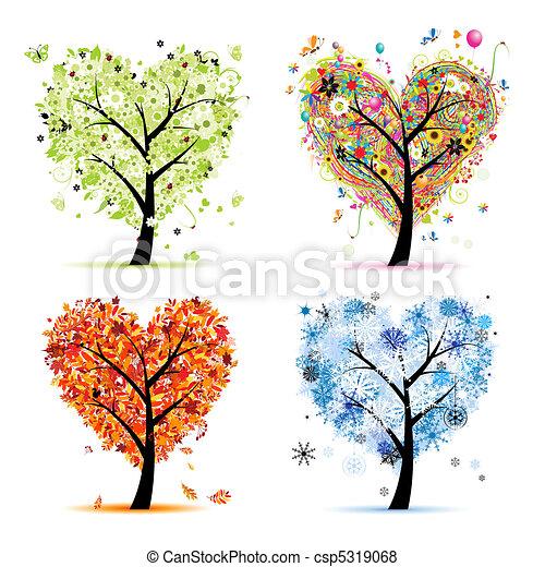 coeur, arbre, ton, printemps, saisons, winter., -, automne, été, art, quatre, conception, forme - csp5319068