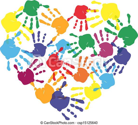 coeur, caractères, coloré, main, forme, enfant - csp15125640