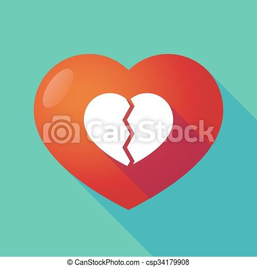 coeur cassé, rouges, long, ombre - csp34179908