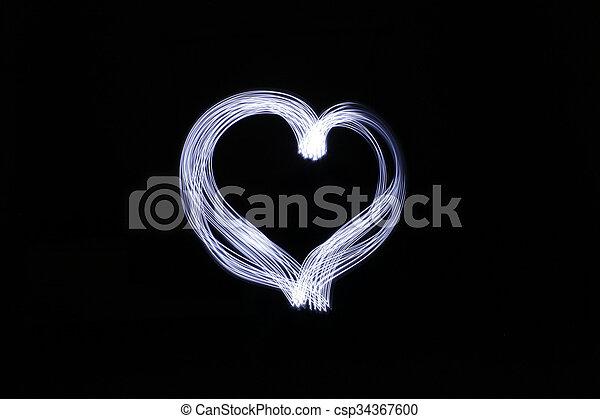 coeur, fait, effet lumière, longue exposition - csp34367600