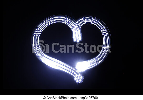 coeur, fait, effet lumière, longue exposition - csp34367601