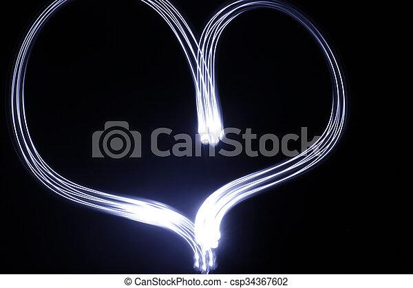 coeur, fait, effet lumière, longue exposition - csp34367602