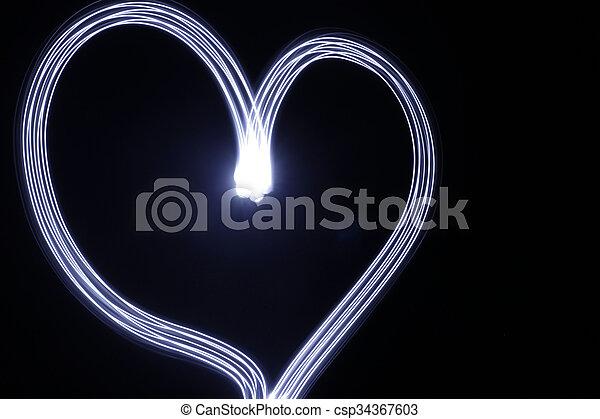 coeur, fait, effet lumière, longue exposition - csp34367603
