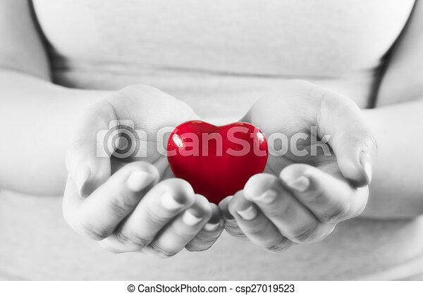 coeur, femme, amour, donner, protection., soin, santé, hands. - csp27019523