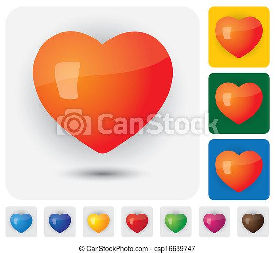 coeur, &, ), (, icônes, signes, romance, santé, humain, amour, passion - csp16689747