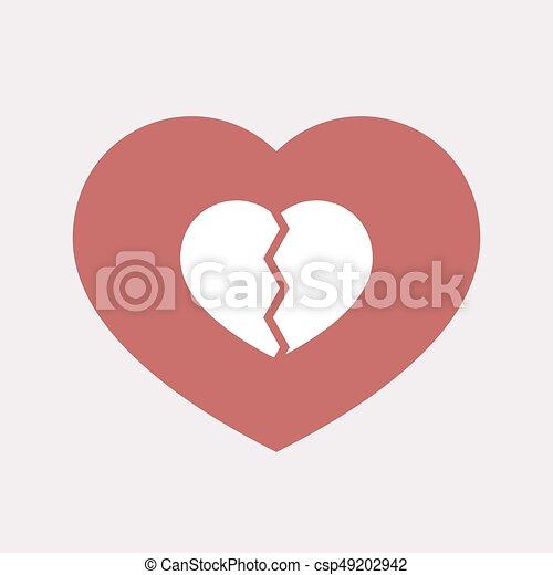 coeur, isolé, cassé - csp49202942