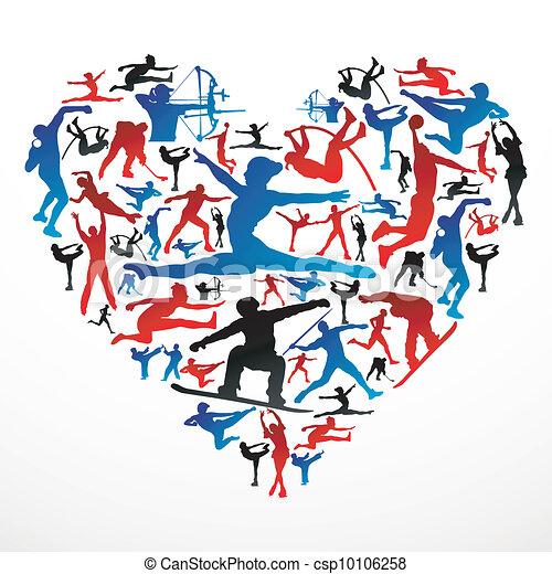 coeur, silhouettes, sports - csp10106258