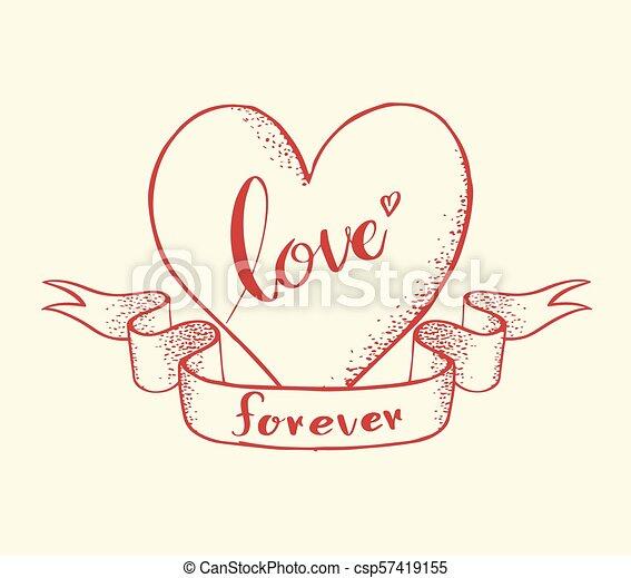 coeur, toujours, amour, lettrage - csp57419155