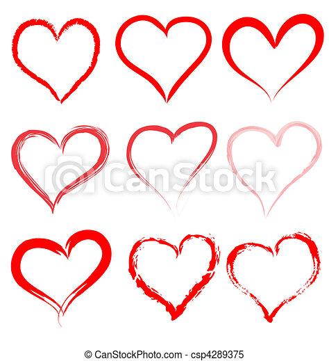 coeur, valentines, valentin, vecteur, cœurs, jour, rouges - csp4289375