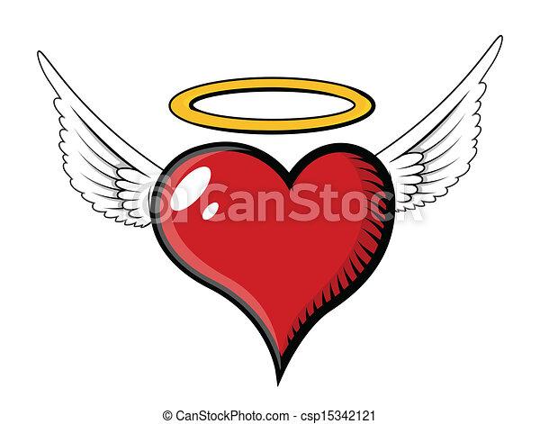 coeur, vecteur, -, ange, illustration - csp15342121