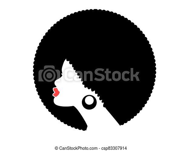 coiffure, isolé, vecteur, américain africain, top model noire, femme, silhouette., profil - csp83307914