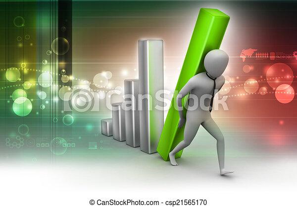 colonne, porter, homme affaires, diagramme, grand, 3d - csp21565170