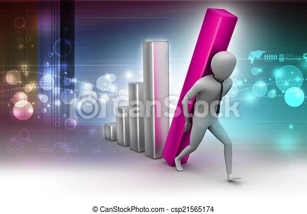 colonne, porter, homme affaires, diagramme, grand, 3d - csp21565174