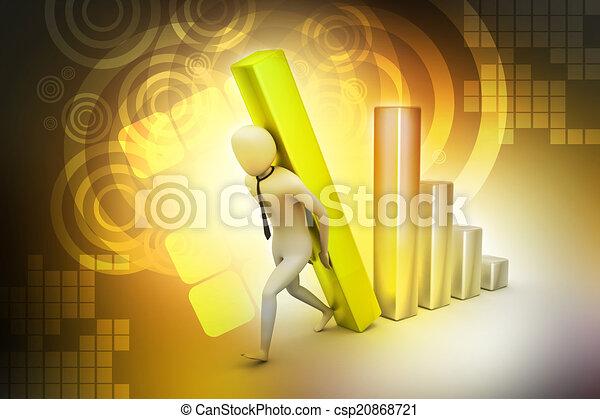 colonne, porter, homme affaires, diagramme, grand, 3d - csp20868721