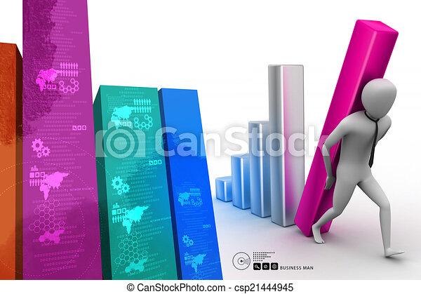 colonne, porter, homme affaires, diagramme, grand, 3d - csp21444945