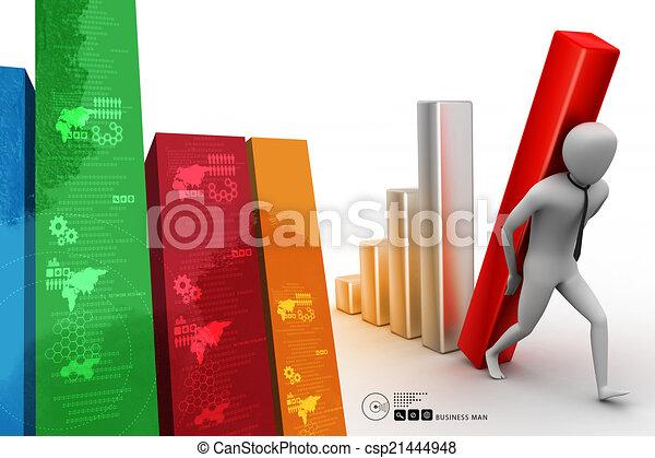 colonne, porter, homme affaires, diagramme, grand, 3d - csp21444948