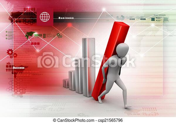 colonne, porter, homme affaires, diagramme, grand, 3d - csp21565796
