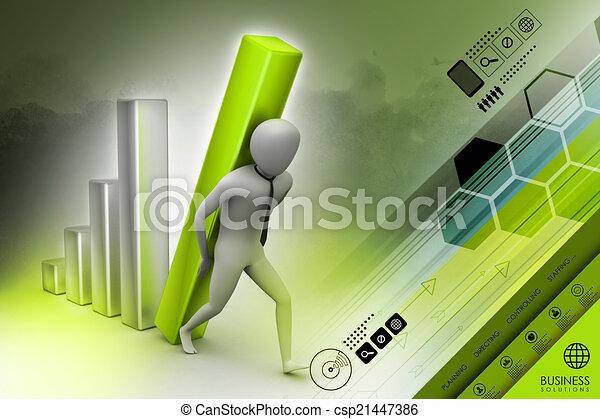 colonne, porter, homme affaires, diagramme, grand, 3d - csp21447386
