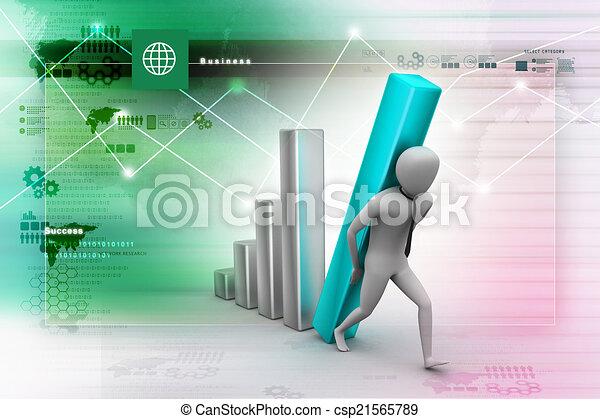 colonne, porter, homme affaires, diagramme, grand, 3d - csp21565789