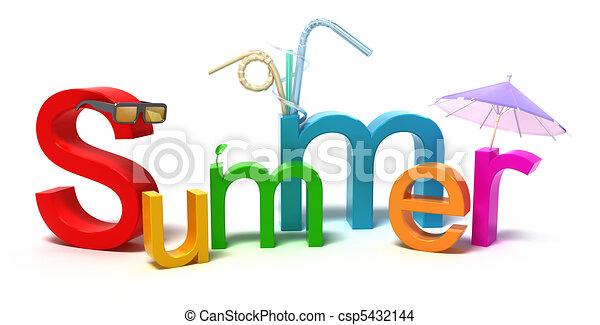 coloré, été, mot, lettres - csp5432144