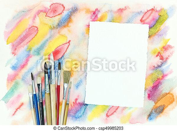 coloré, coups, sur, diagonal, aquarelle, papier, pinceaux, fond, vide - csp49985203