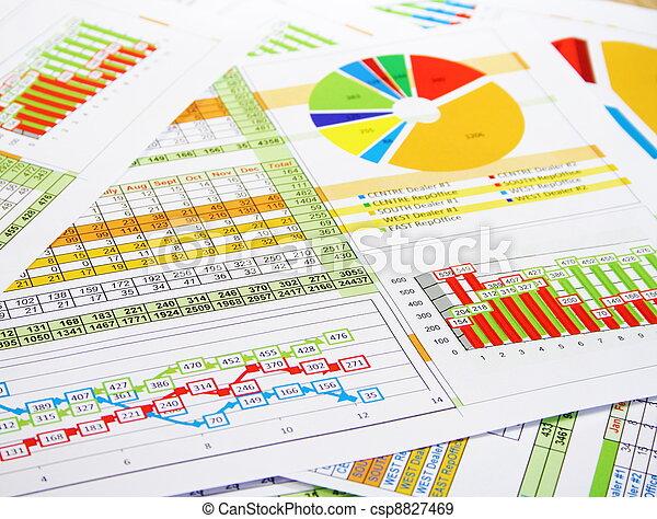coloré, diagrammes ventes, graphiques, rapport, chiffres - csp8827469