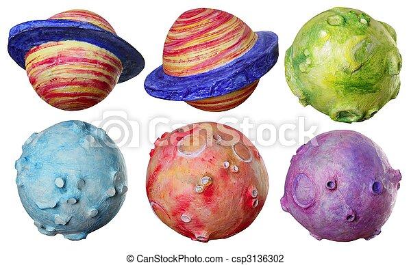 coloré, espace, six, fait main, fantasme, planètes - csp3136302