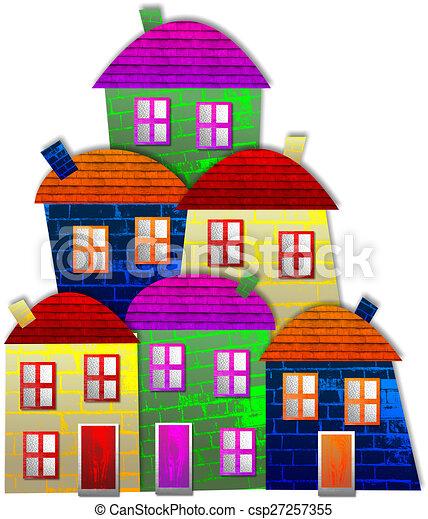 coloré, village - csp27257355