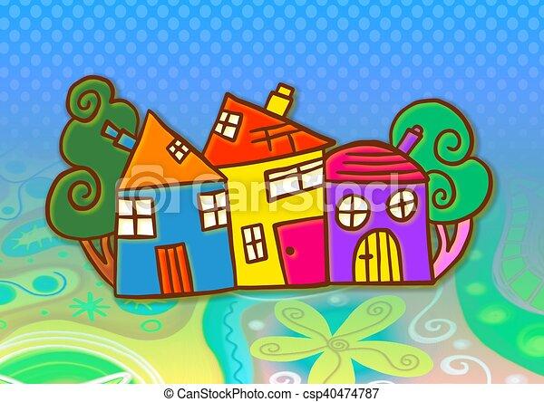 coloré, village - csp40474787