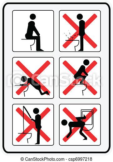 comment, pas, toilette, illustration, usage, signes - csp6997218
