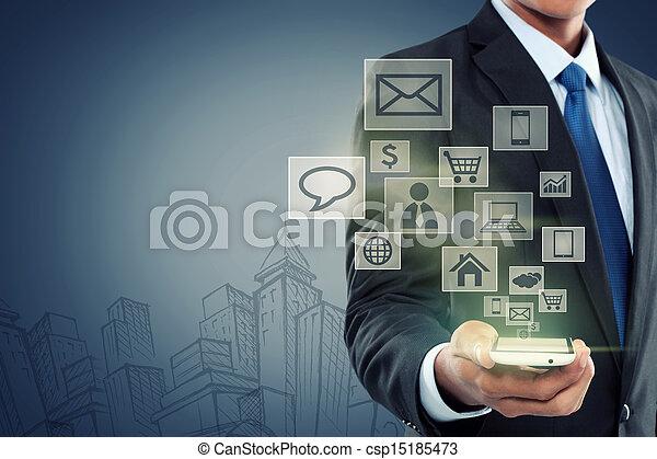 communication mobile, technologie moderne, téléphone - csp15185473