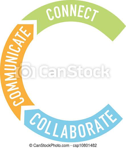 communiquer, collaborer, flèches, relier - csp10801482