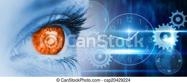 composite, bleu, orange, image, oeil, figure - csp20429224