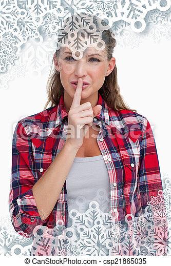 composite, portrait, image, silenc, sourire, demander, femme - csp21865035