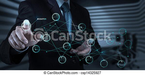 concept, écran, pousser, solution, main, diagramme, toucher, interface, homme affaires - csp14325927