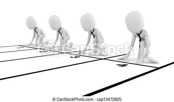 concept affaires, concurrence, fond, homme affaires, blanc, homme, 3d - csp13472925
