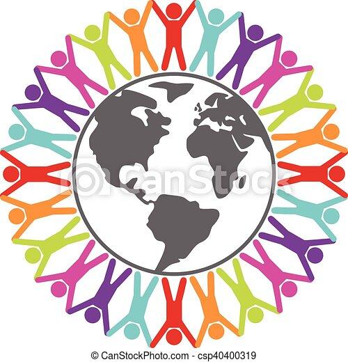 concept, autour de, coloré, gens, voyage, paix, illustration, vecteur, ou, mondiale - csp40400319