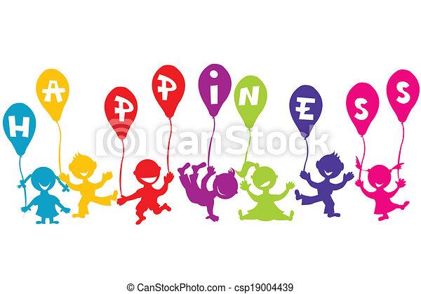 concept, ballons, enfants, bonheur, enfance - csp19004439