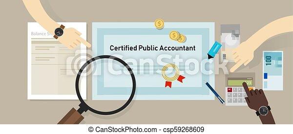 concept, business, cpa, comptable, papier, certifié, education, table., public, certification. - csp59268609