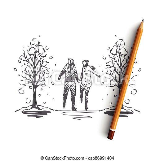 concept., couple, romance, isolé, vector., ville, hiver, parc, main, dessiné - csp86991404